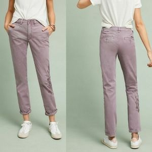 ANTHROPOLOGIE CHINO Purple Embroidered Pants 25